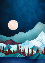 moon bay landscape mountains trees forest water lake night evening blue mauve green nature abstract contemporary wanderlust organic