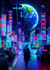 new world earth tokyo barrier cars 2077 city drone moon high street