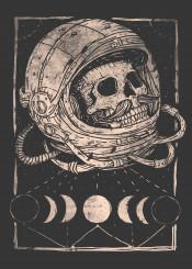 skull skulls skeleton astronaut moon space hipster vintage retro moustache