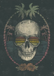 skull skulls palm palmtrees summer sun beach sunset summertime skeleton roses rose vintage retro