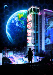 new world earth life planet modern 2077 drone hologram after star space