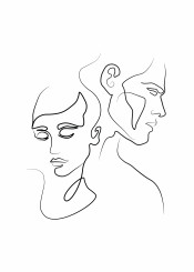 love lovers minimal line draw couple black white ink