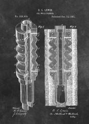 patent patents graphic illustration invention vintage scheme decor decoration black white oil  well  machine