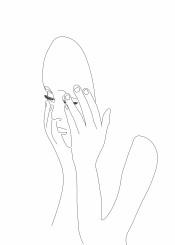 minimalism one line draw minimalistic woman mask ink