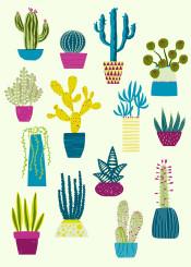 summer bohemian cactus cacti succulent houseplant desert prickly hot bright green pink nicsquirrell design illustration