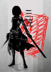 crimson  character  mikasa  ink  inking  anime  manga  red  scouting  legion  cool  vintage  swords  kanji  eren  armin  levi  titan  attack  on