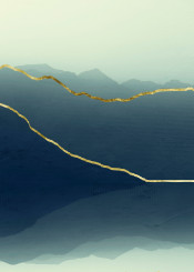 mountains  minimalism  misty  landscape  teal  gold  abstract  decorative  manipulation  textures