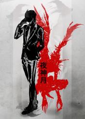 japan  japanese  ink  inking  anime  manga  kira  deathnote  ryuk  death  note  minimal  red  crimson  apples  l  fanfreak  god