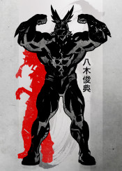 crimson  all  might  hero  my  academia  japanese  japan  anime  manga  ink  minimal  red  strong  deku  boko  no  inking  fanfreak  kanji