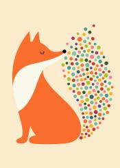fox dots bubble rainbow colorful smile dream kids children nursery cute
