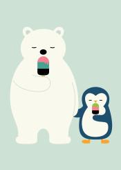 polar polarbear penguin friend cool universe lollipop sweet cute dream kids children nursery smile illustration vector graphic design