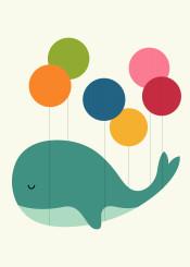 whale balloon rainbow fly dream sky kids children nursery cute bubble dots illustration vector design graphic smile
