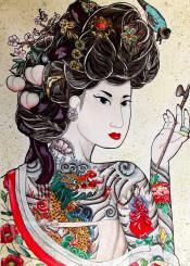 korean kisaeng gisaeng korea minhee opium tattoos gumiho ninetailedfox poppy gird peach blossom