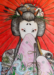 kuzunoha japanese japan folk fox kitsune kimono tattoos tattoo umbrella red pink legend