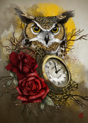 time wise owl roses clock