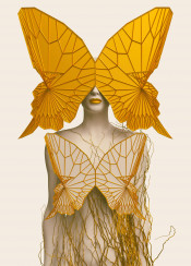 woman lady female human butterfly wings surreal nature abstract contemporary modern 3d digital gold brown dream transformation disguise