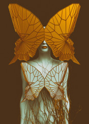 woman female human 3d digital nature surreal butterfly wings abstract contemporary modern dream gold blue white transformation