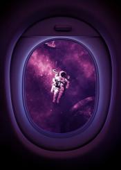 astronaut airplane spaceship window unexpected