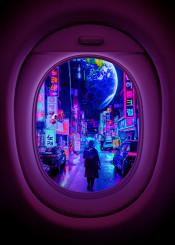 earth tokyo future 2077 airplane window space ship