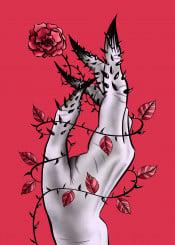 mnstr monster creepy freak psycho gothic hand rose thorns illustration horror weird strange deformed freaky dark odd oddity wrist fingers oth concept bizarre weirdness