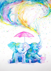watercolor wall walldecor wallart elephants babyelephants fun kids ink umbrella trending
