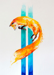 color colorful watercolor fox wildlife trending ink wall walldecor wallart animals
