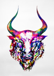 colorful wallart wall walldecor animals horns bull wildlife abstract