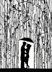 black blackandwhite umbrella couple love silhouette wall wallart walldecor watercolor ink