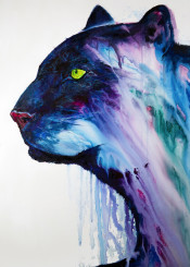panther cat big watercolor ink wall wallart walldecor trending animals wildlife blackpanther