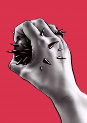 mnstr hand stab spikes thorns pain hurt wrist weird horror creepy dark gothic painful bizarre odd strange oddity weirdness freak surreal surrealism freaky freakish suffer suffering concept psycho