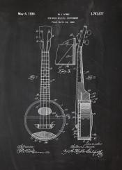string guitar ukulele mandolin blackboard music audio sound concert patent drawing blusprint vintage play