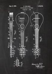 music musical concert orchestra guitar ukulele string blackboard blueprint patent drawing vintage