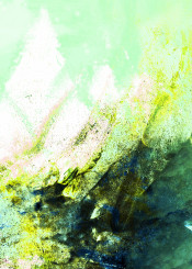 abstract painting acrylic mountains green blue mint white modern landscape nature rocks expressionism piaschneider brushstrokes conceptual wallart modernart colourful