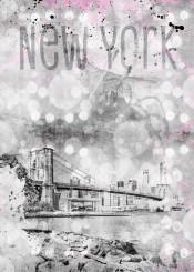 new  york  city  manhattan  brooklyn  bridge  skyline  east  river  skyscarper  nyc  modern  decorative  art  urban  mixed  media  watercolor  pebble  beach