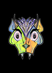 mnstr dog demon monster horror urban street green blue purple yellow fantasy beast