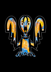 bird birds tribal urban street cute baby blue yellow orange