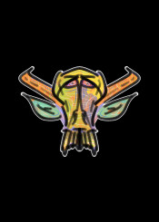 mnstr monster skull urban street horror yellow green orange fantasy evil demon