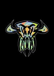 mnstr monster skull urban street green blue yellow horror evil demon