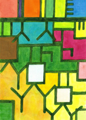 abstract artwork vibrant color colorful yellow green orange pink blue white geometry geometric geometrical watercolor paul klee square rhytm cool beautiful