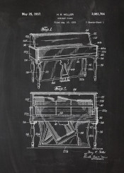 piano pianola forte fortepiano music insrument instrumental orchestra patent drawing vintage musician bkackboard blueprint