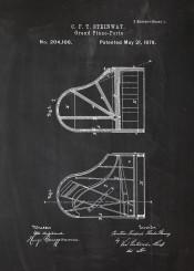 grand piano forte pianola fortepiano patent drawing blackboard blueprint mozart vintage bach chopin musician orchestra