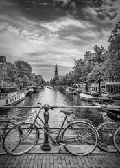 amsterdam  netherlands  city  canal  bike  bycicle  prinsengracht gracht  historical  old  town  cityscape  urban  architecture  europe  westerkerk  westertoren  houseboat