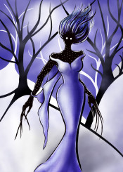 mnstr monster woman female creature weird odd strange unusual dark creepy violet ultraviolet forest trees snow snowy fantasy illustration character gothic horror scary ystery mysterious deformed crooked freak freaky freakish oddity weirdness lowbrow purple