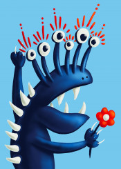monster mnstr character creature blue cute funny happy flower teeth cheerful happiness fun weird bizarre odd eyes illustration digital strange oddity alien quirky cartoon silly cool unusual