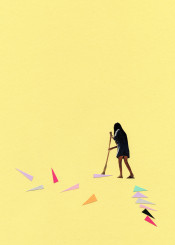 people girl female figure portrait housework domestic sweeping broom geometric shapes triangles colourful pastel paper yellow purple vintage modern