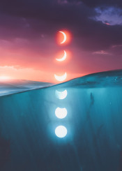 moon phase sea ocean water sky sunset nature photography photo manipulation mobile digital