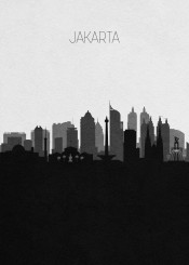 jakarta indonesia travel java indonesian city panorama asia asian cities skyline cityscape panoramic beautiful scenery sightseeing view streets map downtown home hometown neighborhood district tower skyscrapers modern buildings minimalist architecture urban landscape souvenir housewarming wanderlust landmarks monument memorabilia retro black white vintage drawing illustration