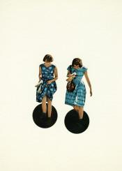 people girls women female indigo blue black summer surreal vintage retro circles holes collage paper