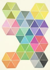 geometric shapes honeycomb colourful multicoloured rainbow modern contemporary triangles vector collage paper pink purple yellow blue teal black grey orange
