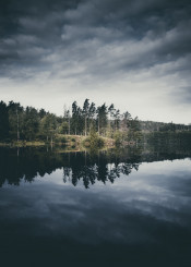 nature lake wanderlust country forest adventure clouds sky trees water reflection circle magical original photo photograph scenery landscape calm serene